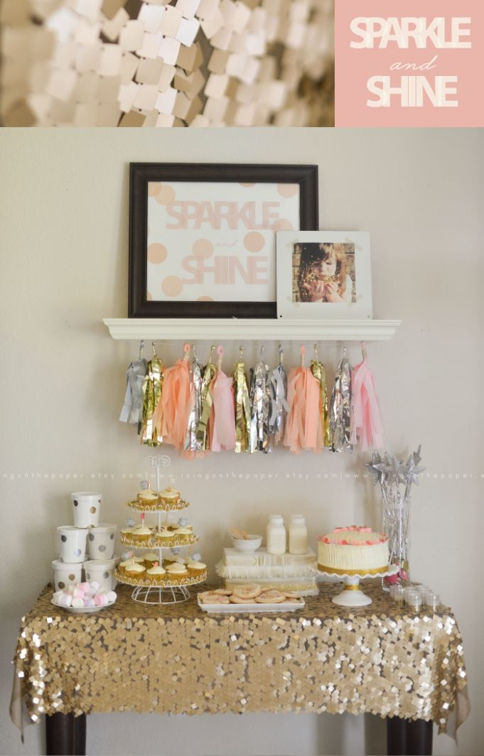 A Sparkle and Shine party!--follow me (Hannah Hunter Seagraves) for more interesting pins, I follow back!! #follow #followme #followback #sparkleandshine #babyshoweridea #babyshower #babygirl