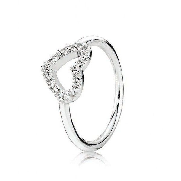 Pandora Ring - Sterling Silver & Cubic Zirconia Be My Valentine ($60) ❤ liked on Polyvore