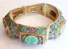 Vintage Chinese Export Vermeil Silver Bracelet w/ Jade & Enamel Desgin Orig. Box