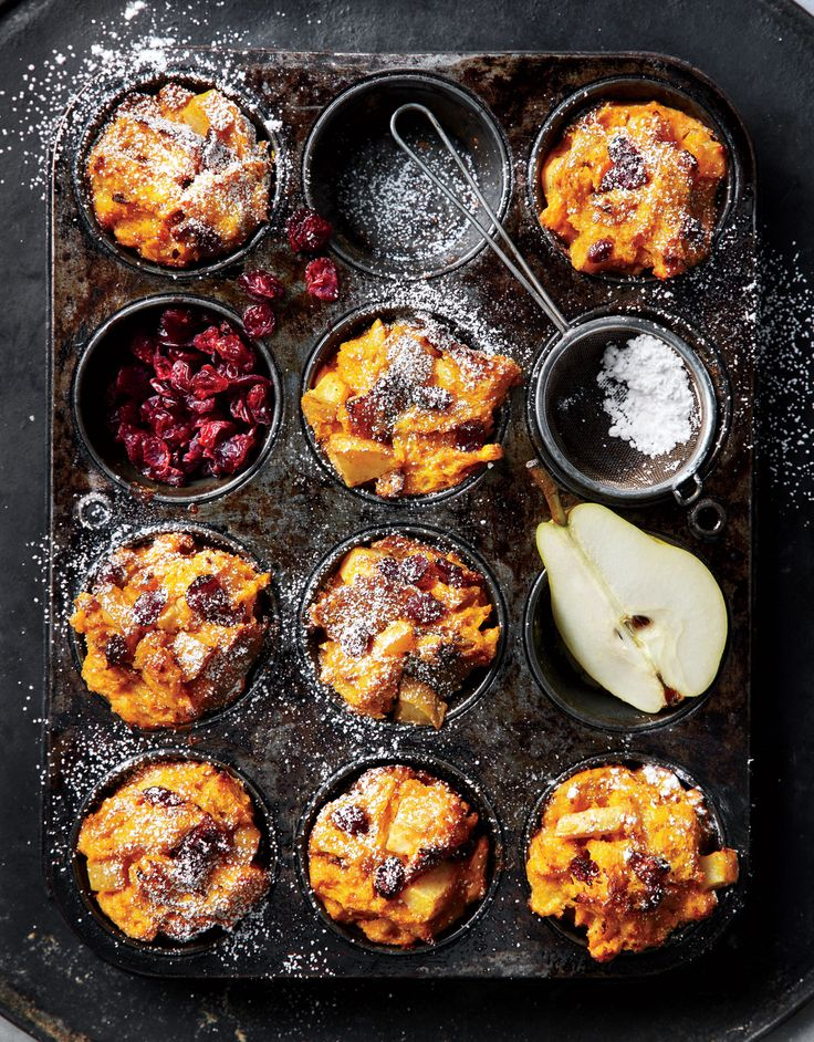 Muffin-Tin Pumpkin-and-Pear Stratas | Bosc or Anjou pears will also work here, as long as they're ripe. Your bare hands do the best job of mixing the bread into the egg.