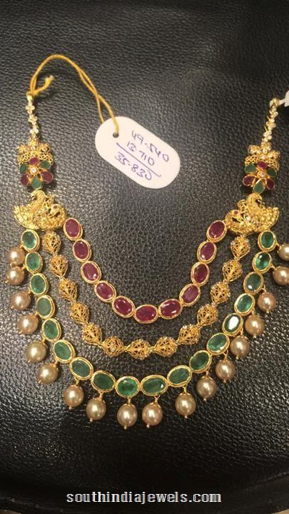 22k gold multi layer ruby emerald necklace design from Premraj Shantilal Jain Jewellers.