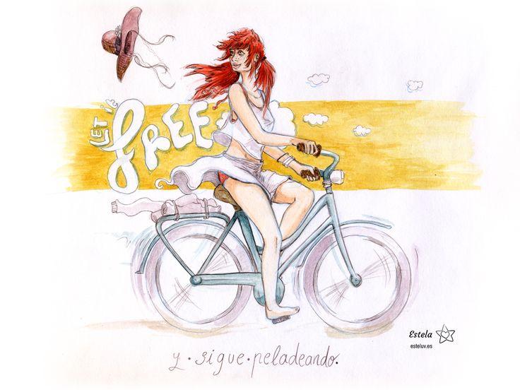 """Bicicleta, ilustración. Acuarelas y lápiz. """"Si el viento lo libera, déjalo ir y sigue pedaleando.""""  Ilustración creada por Estela Labajo Duque"""