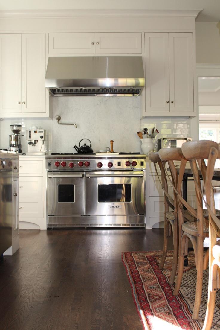 white kitchen, rug