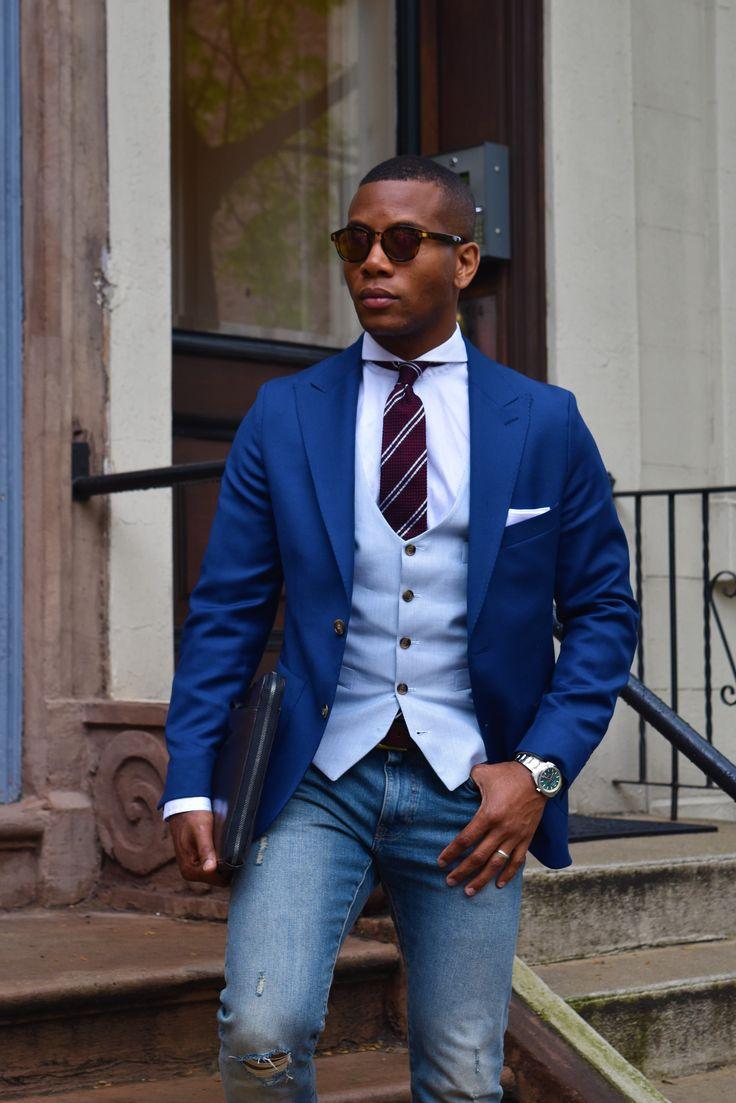 Sabir M Peele Of Men 39 S Style Pro In Oliver Wicks Intense Blue Hopsack Suit Lord Wallington