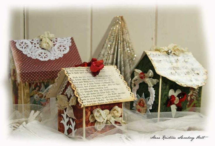 Anne's paper fun: Julehus {Scrappehuset} Houses made from upcycled juice/milk containers