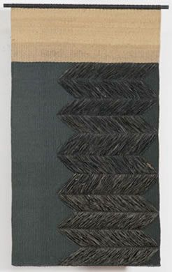 'Brocado en Rafia' (2009) by Chilean fiber artist and weaver Carolina Yrarrázaval (b.1960). Handwoven, linen, raffia 51.5 x 32.25 in. via Brown Grotta Arts