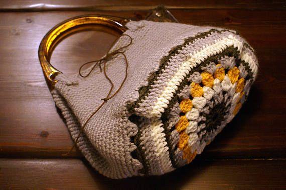 Crochet Handbag Top Handle Bag Gray Crochet Bag Granny Square