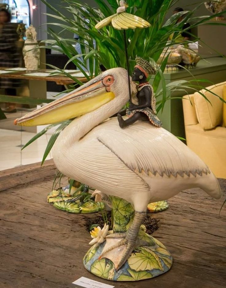 Great White Pelican sculptures created by Betty Ntshingila and painted by Wiseman Ndlovu. We invite you to explore the o'kavango exhibition at Hyde Park Corner, Johannesburg, the show runs up until the 10th of September.