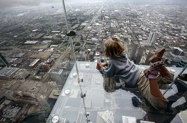 Balcony of floor 103 in Chicago, yikes.  You'd probably like it.  I'd never do it.