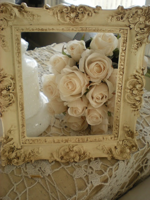Framed roses...A Shabby Moment in Time..beautiful frame!