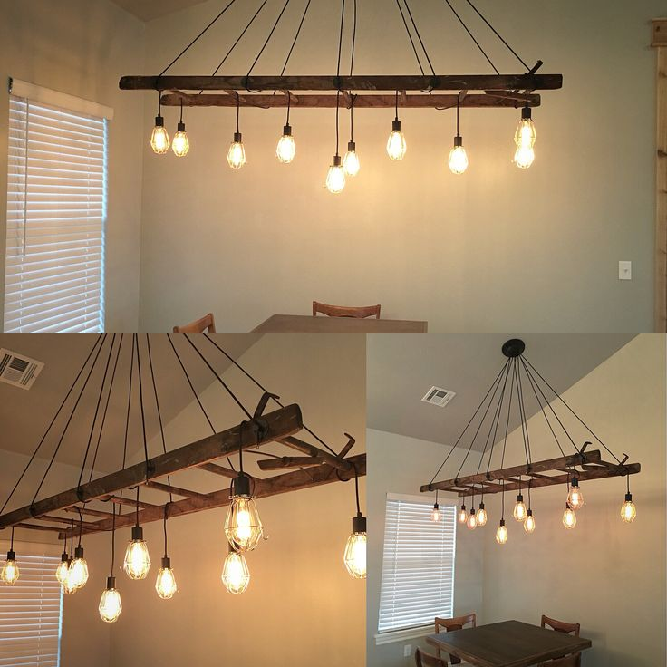 Old wood ladder turned into a chandelier. By Kelli Potts and Dylan Vaughn. Dining room light. Kitchen.