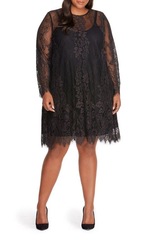 Main Image - REBEL WILSON X ANGELS Lace Overlay Dress (Plus Size)