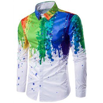 SHARE & Get it FREE | Turndown Collar Colorful Splatter Paint Printed Long Sleeve ShirtFor Fashion Lovers only:80,000+ Items·FREE SHIPPING Join Dresslily: Get YOUR $50 NOW!