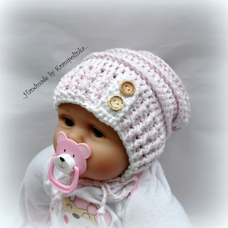 Crochet baby slouchy bamboo hat with strings