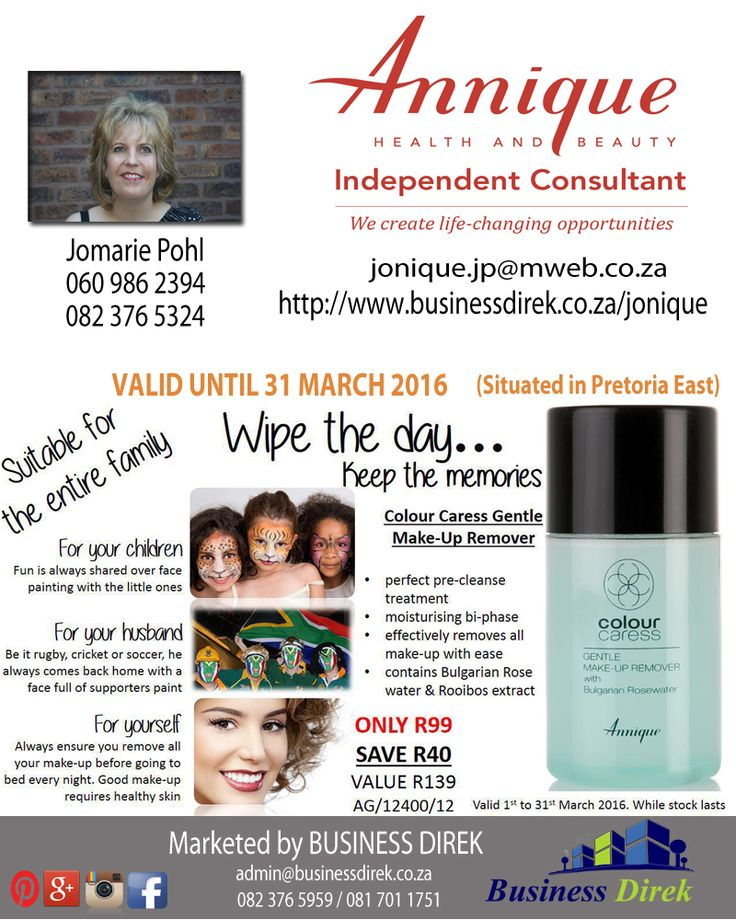 Jonique Rooibos - Independent Annique Consultant Contact Jomarie Pohl 060 986 2394 / 082 376 5324 / jonique.jp@mweb.co.za https://www.facebook.com/Jonique-Rooibos-Independent-Annique-Consultant-591233681005747/?fref=ts&ref=br_tf http://www.businessdirek.co.za/jonique https://plus.google.com/u/0/collection/sGtdfB Like our page!