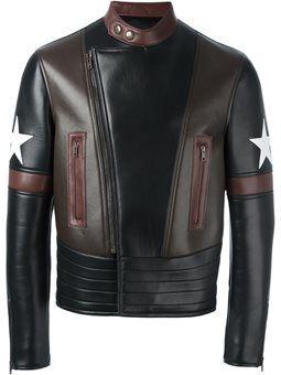 star patch biker jacket