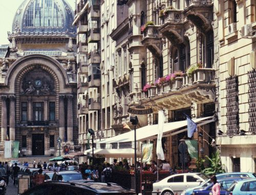 Bucharest Romania in Old City Center, the architecture is very beautiful.