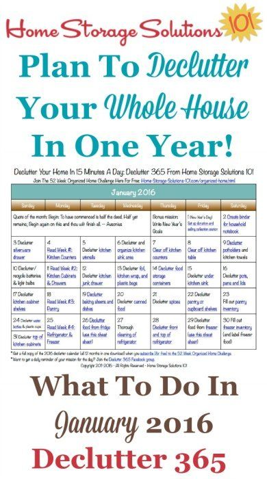 Free printable January 2016 decluttering calendar with daily 15 minute missions.