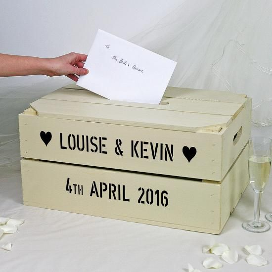 This stunning wooden personalised apple crate makes a brilliant postbox for wedding card and messages. The lid has an extended handle hole perfect for cards.