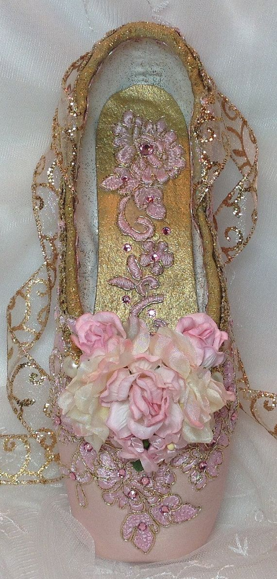 Pink and Gold decorated pointe shoe. Sugar Plum Fairy. Nutcracker Ballet. Aurora. Sleeping Beauty. Coppelia. Ready to Ship.