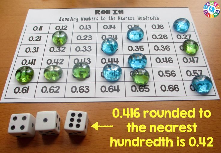 In this Roll It! Rounding Game, round the number rolled to the nearest hundredth.