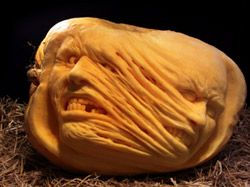 Mummy  pumpkin carving by Ray Villafane  - Learn more about this unique form of pumpkin carving that is perfect for Halloween here: http://www.vegetablefruitcarving.com/ray-villifane-pumpkin-carving-dvd/