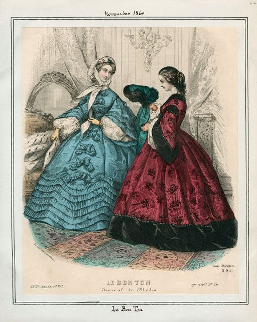 In the Swan's Shadow: Le Bon Ton, November 1860.  Civil War Era Fashion Plate