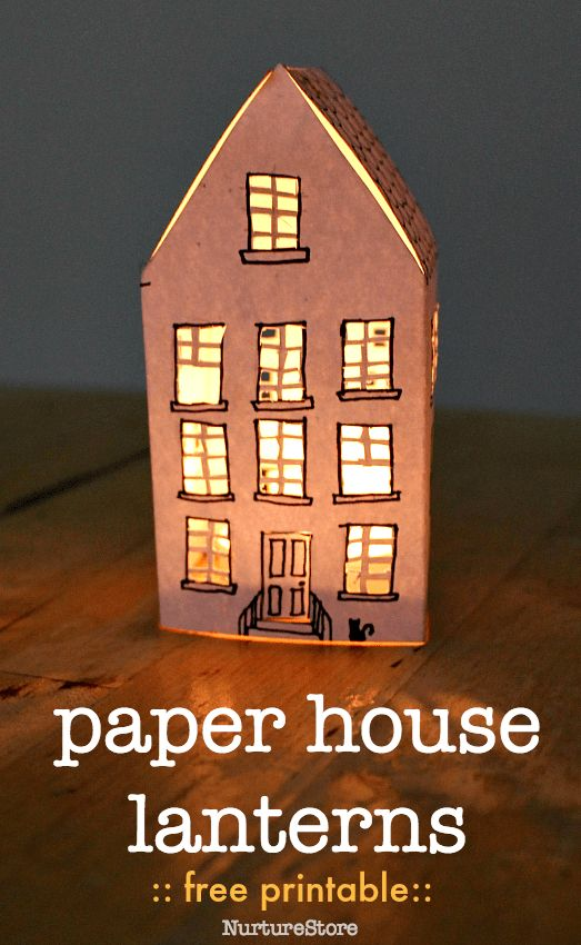 how to make paper house lanterns, free paper house template, house craft for kids
