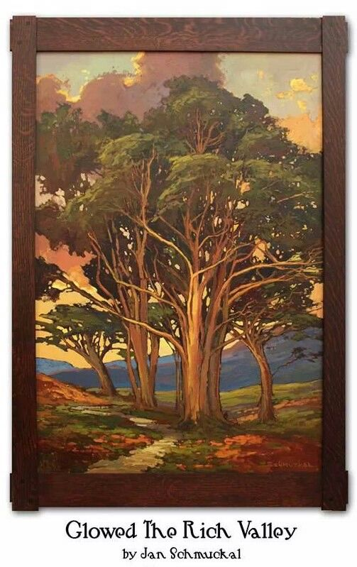 Jan Schmuckal - Original Oil On  Canvas - Mortise & Tenon Quartersawn Oak Frame With Ebony Pins by Dard Hunter Studios - Arts & Crafts - Craftsman - Bungalow