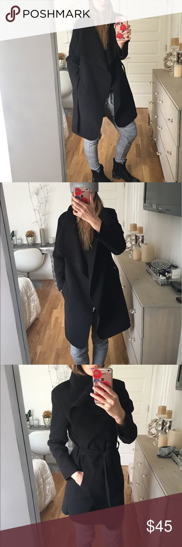 Black waterfall coat Black waterfall coat is soft and cozy. Has pockets and belt, no lining. It's great for spring and fall! Bought it in Paris!!! Made in France. Size: one fits most. Jackets & Coats