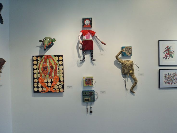 Maria Simonsson & Kathy Baynette, Badger (L), Red Riding Hood (T), Robot (B), and Green Meanie, mixed media. From the Outside, June 21 - August 17, 2013 at the Joan Hisaoka Healing Arts Gallery.