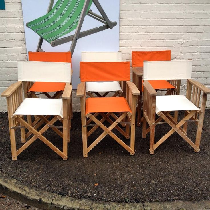 Nice Directors Chairs In Cream And Orange Canvas