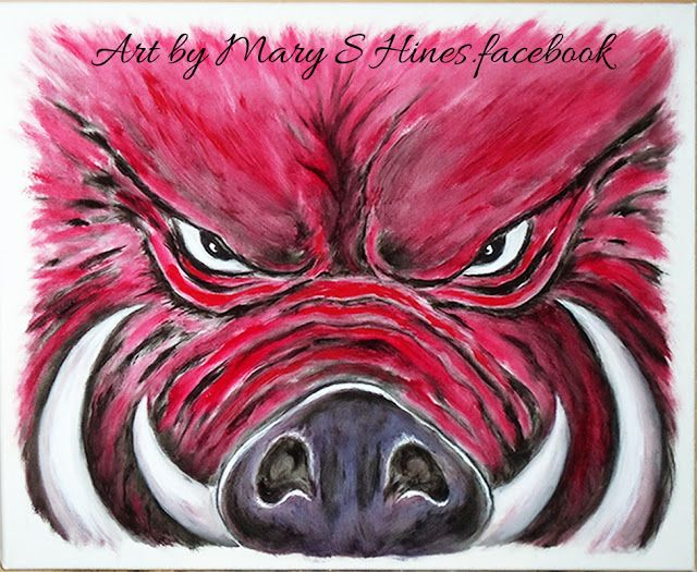 Mary's Daily Painting Blog: 'Razorback 01'....Handpainted oil on 16x20 box can...