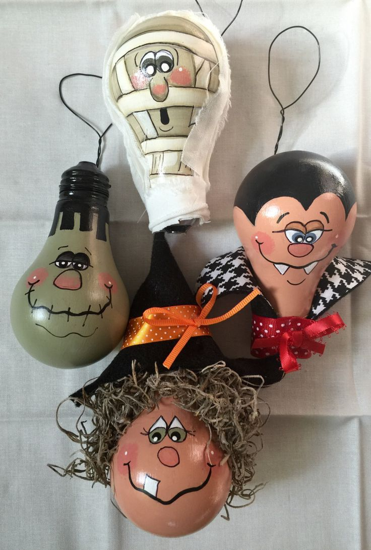 Set of four Halloween Ornaments out of light bulbs