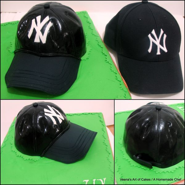 Base Ball Cap Cake - by Veena's Art of Cakes @ CakesDecor.com - cake decorating website