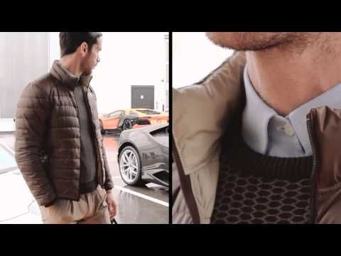 Collezione Automobili Lamborghini: excellence is just the beginnig! Discover the Lamborghini Lifestyle: Seal brown Ultra Padded Jacket, Cashmere Hexagon Sweater, Trousers with Turn-Ups and white Shirt.