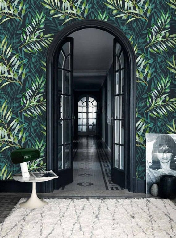 Dark Leaf Wallpaper Mural Reusable, Wallpaper Peel & Stick Wall Mural, Watercolor Wallpaper Removable, Olive Branch Wall Paper Leaves #83 – Liesa