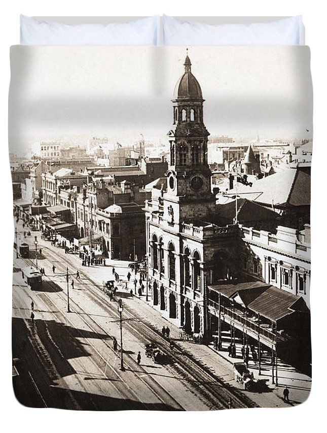 Adelaide Duvet Cover featuring the photograph 1928 Vintage Adelaide City Landscape by Jorgo Photography - Wall Art Gallery