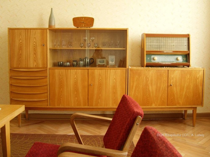 Living room with teak cabinets