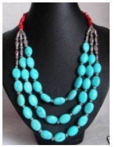 Очаровательная Ювелирные Изделия Тибет коралл бирюзовые бусы, ожерелье Бесплатная доставка