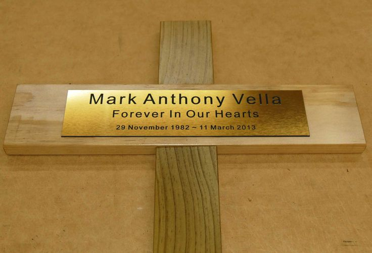 Memorial cross engraved with brush metal plate. Choose your timber,  text and any optional image