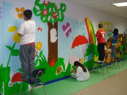 51 best images about community mural urban garden on for Children wall mural ideas