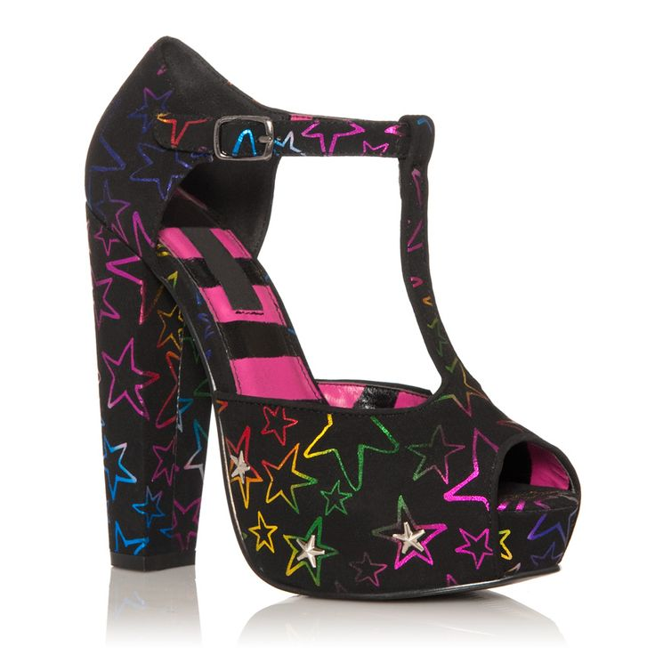 JustFabulous...yep: Platform Heels, Shoes, Starstruck Chunky, Justfab Starstruck, Black Multi, Avril Lavigne, Abbey Dawn, Chunky Platform, Multi Justfab