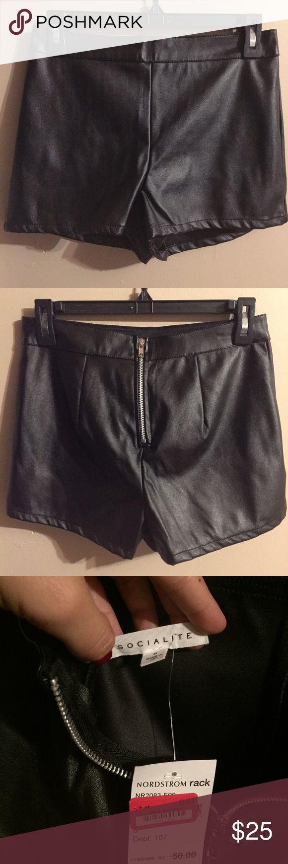 Socialite faux leather shorts Brand new with tags black faux leather shorts . Originally $50. 100 % polyester. Purchased at Nordstroms Nordstrom Shorts