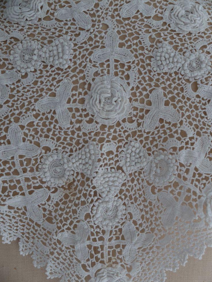 красивый большой antique/vintage ирландский вязаный крючком кружевной воротник in Антиквариат, Текстиль для дома (до 1930 г.), Вышивка | eBay