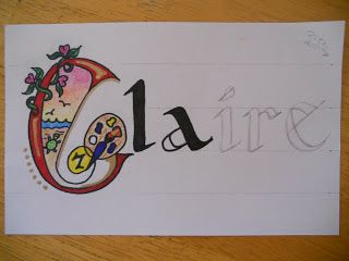 Manuscript lettering of students name as first project for sketchbook