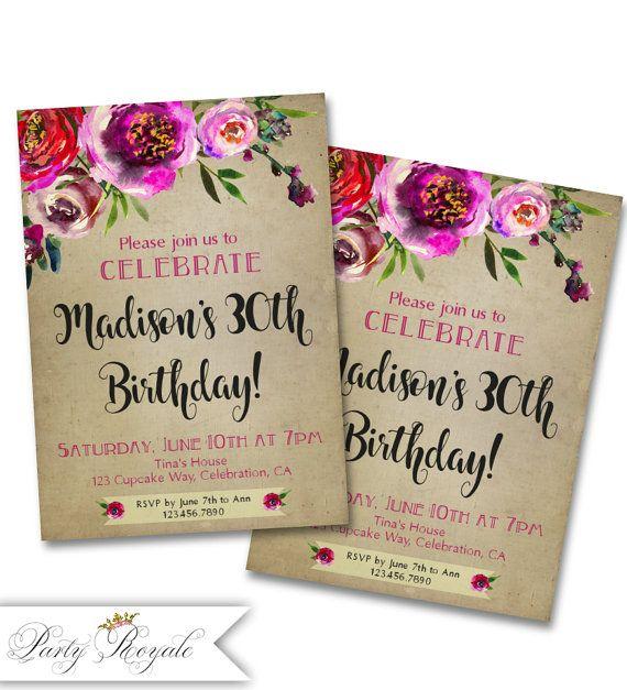 Flores 30 invitaciones de cumpleaños de mujeres por PartyRoyale