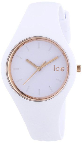 ICE-Watch - ICE Glam - White rose - gold - Small - Montre femme Quartz Analogique - Cadran Blanc - Bracelet Silicone Blanc - ICE.GL.WRG.S.S.14