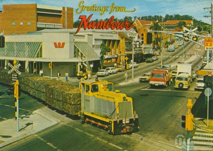 Cane train on Currie Street Nambour - early eighties?