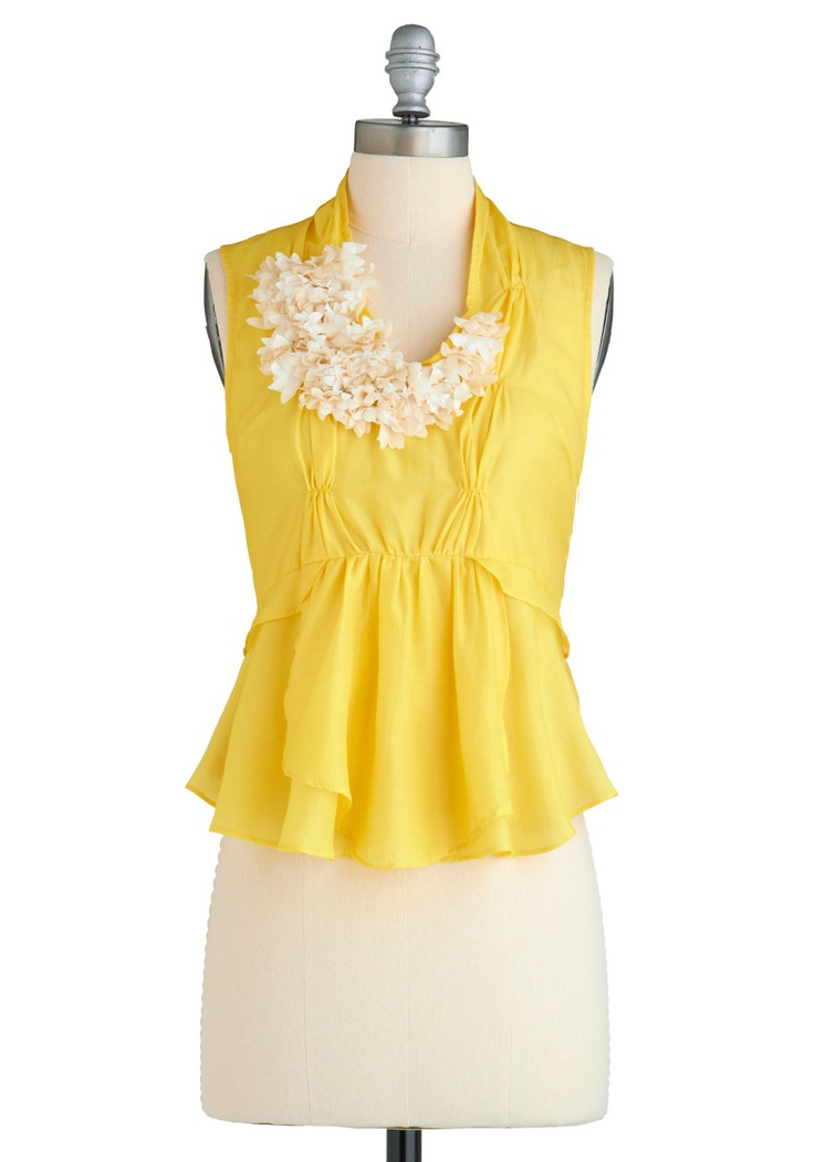 Yellow yellow yellow: Blooms Top, Fashion, Style, Blouse, Modcloth, Yellow, Shirt